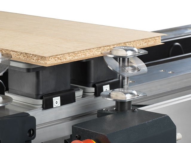 Workpiece stops for veneered panels