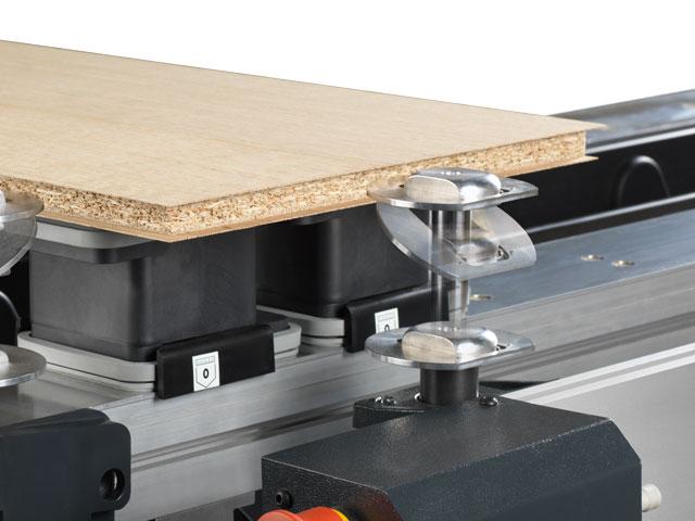 Workpiece stops for veneered panels
