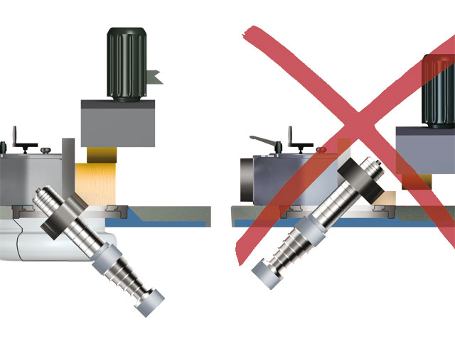 The FELDER moulder spindle tilts rearward: An important advantage for you when working with different sized workpieces!